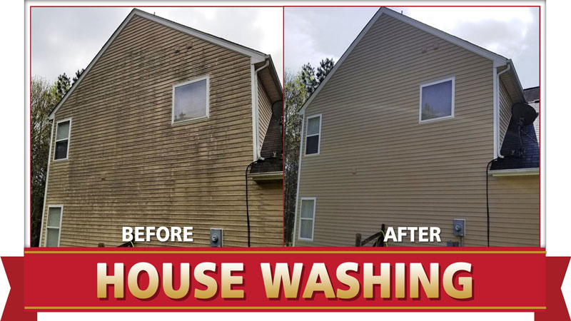 House washing by Camelot Pressure Washing in Charlotte, NC