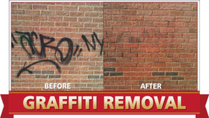 Graffiti removal by Camelot Pressure Washing in Charlotte, NC