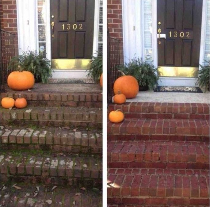 Pumpkins on front steps before Camelot Pressure Cleaning in Charlotte, NC