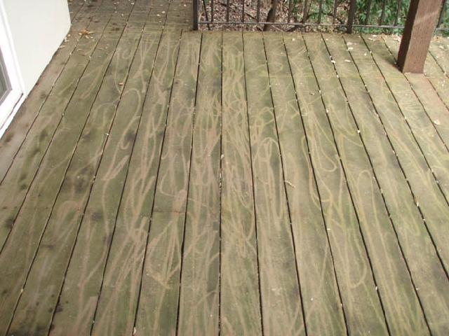 Pressure Washing Damage to a wood deck in Charlotte, NC