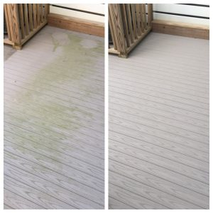 Composite deck before and after pressure washing by Camelot Pressure Washing