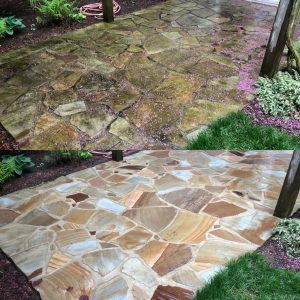 Softwash pressure washing stone patio by Camelot Pressure Washing in Harrisburg, NC