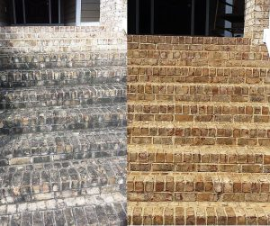 Before and after pressure washing brick steps