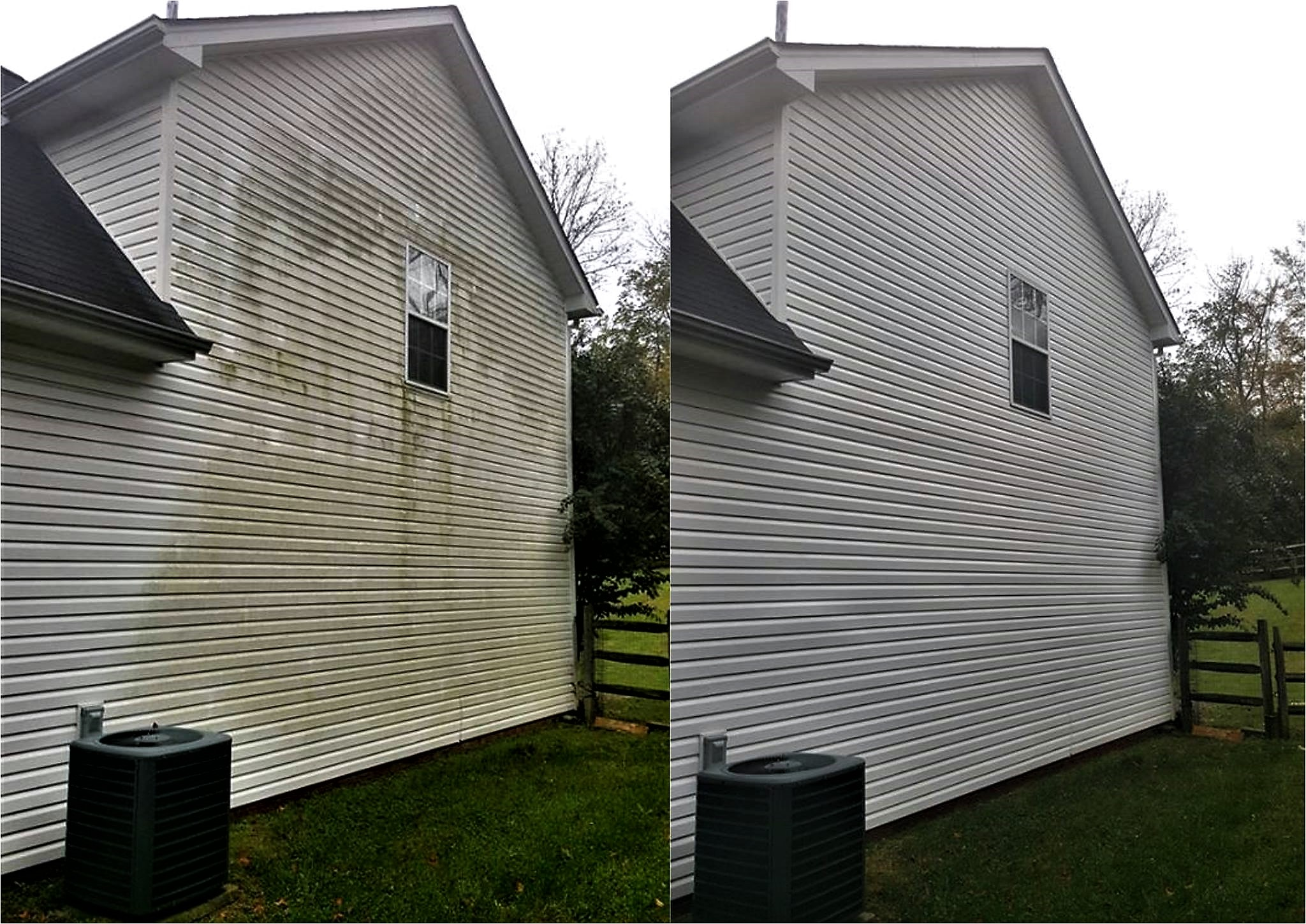 Before and after pressure washing in Harrisburg, NC
