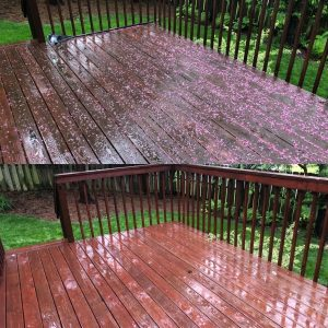 Deck cleaning by Camelot pressure washing